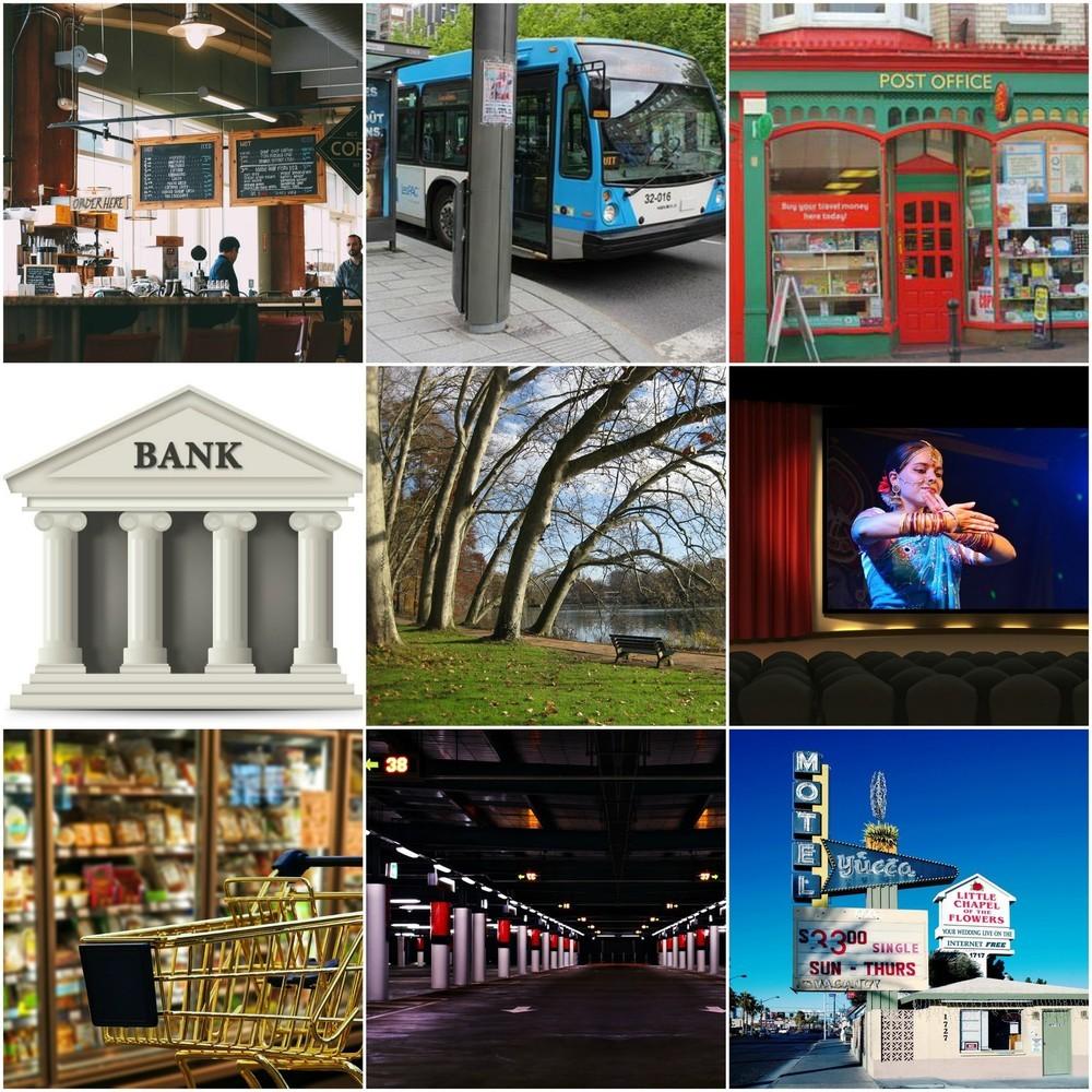 a cafe, a bus station, a post office, a bank, a park, a cinema, a supermarket, a car park, a hotel